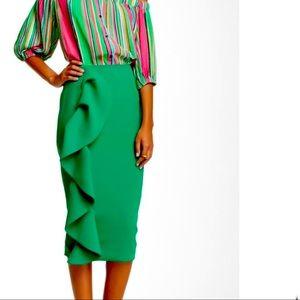 Ruffle midi pencil skirt